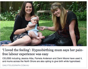 hypnobirthing in the media press sydney daily mail