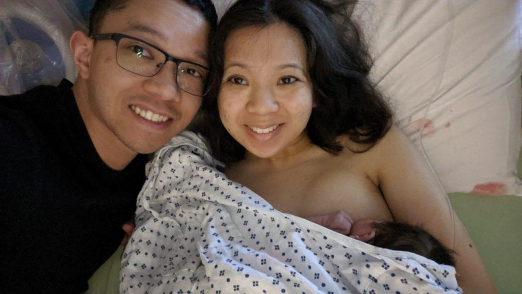 Nina and her husband after their beautiful natural birth